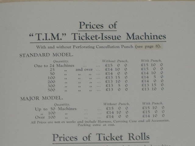 1936 T.I.M TICKET MACHINE PRICE LIST