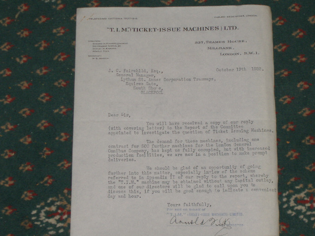 SENT FROM HEAD OFFICE 1932